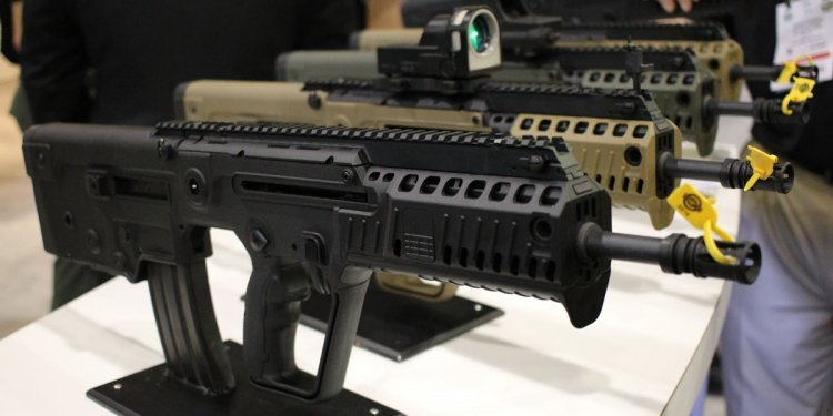 Pictured are the TAR or TAVOR series Bullpup styled rifles