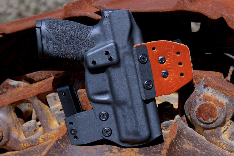 example of an OWB holster for a compact pistol sidearm.