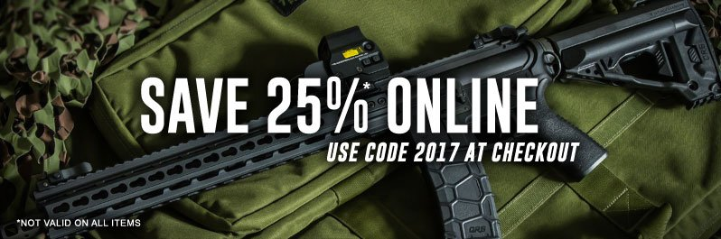 Save 25% on Airsoft Guns and Tactical Gear with code 2017 at checkout