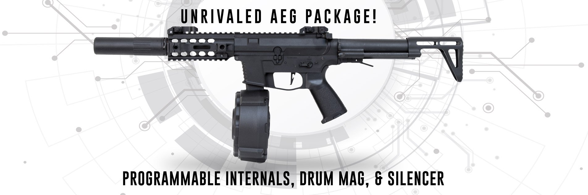 Classic Army PXG 9 AEG Airsoft SMG w/ Auto Drum Mock Silencer Package