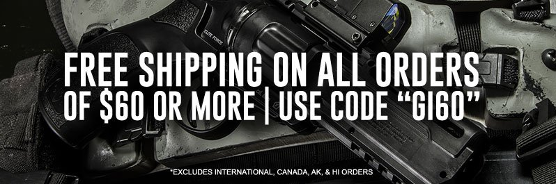 Save on shipping for airsoft guns and tactical gear, use code FREESHIP at checkout for orders over $60