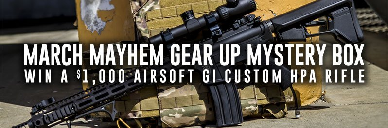 Win airsoft guns or tactical gear with Airsoft GI's Gear Up Mystery Box
