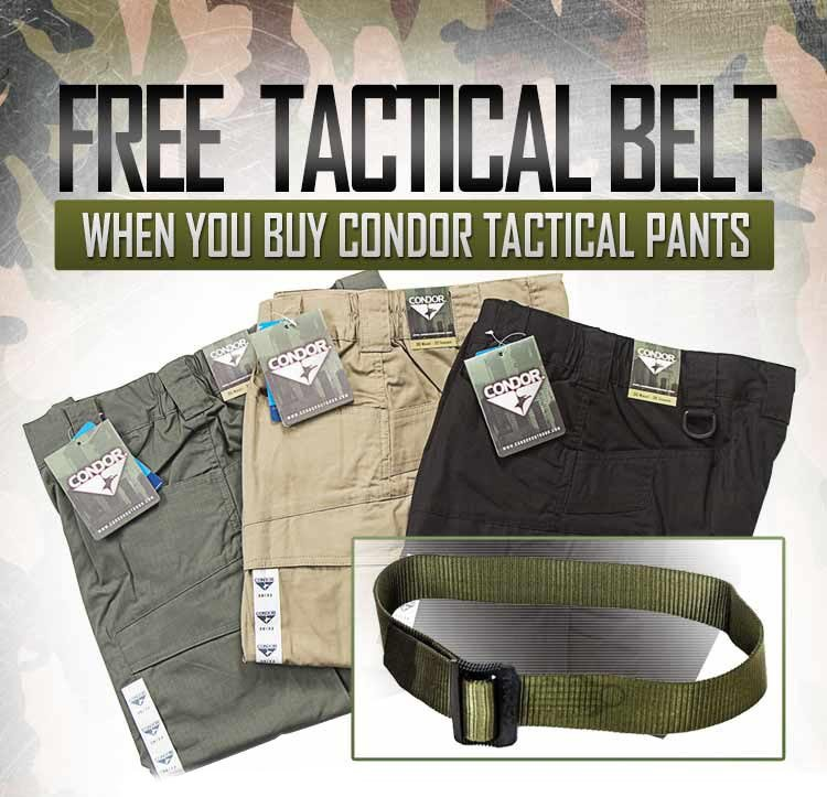 Airsoft GI Virginia / GI Tactical - Get Free Tactical Belt when you buy Condor Tactical Pants only at the Virginia Walk-In Store