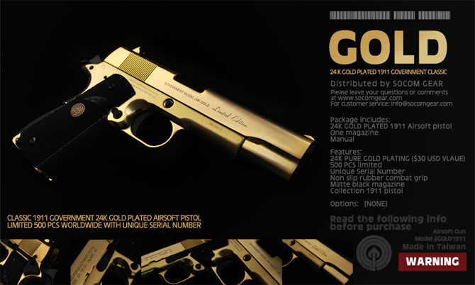 Socom Gear M1911 In Gold