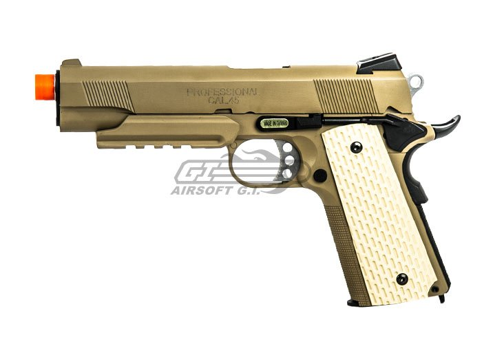 Socom Gear M1911 Desert Warrior Pistol GBB Airsoft Gun x 2 Magazine package ( Tan )