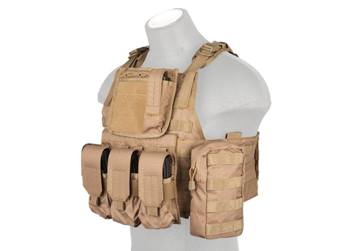 Lancer Tactical Airsoft Gear Plate Carrier Chest Rig in Coyote Brown CA-305KN