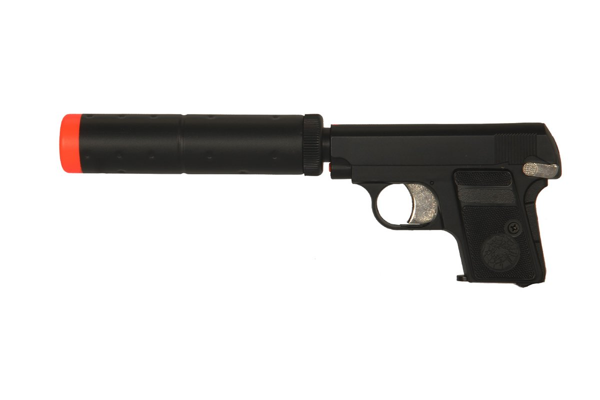 hfc hg107b gas pistol airsoft gun with mock suppressor. Black Bedroom Furniture Sets. Home Design Ideas