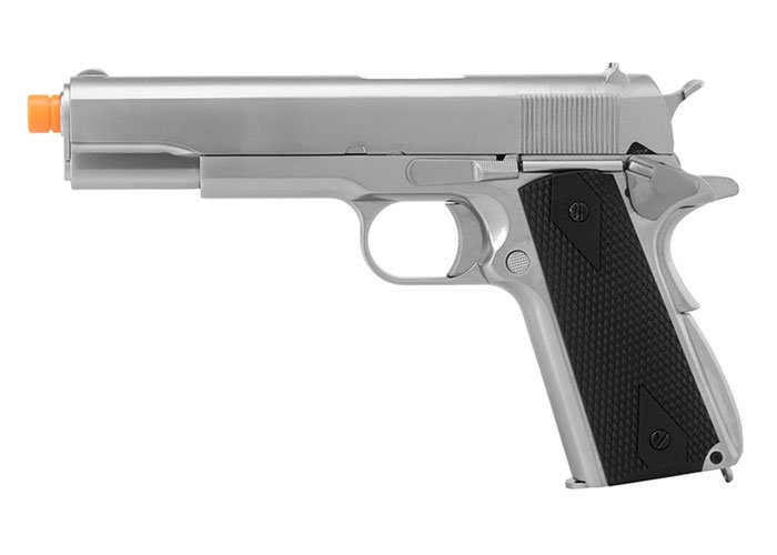WE Tech 1911 MEU Airsoft Gas Blowback Pistol With Classic Grips (Silver)