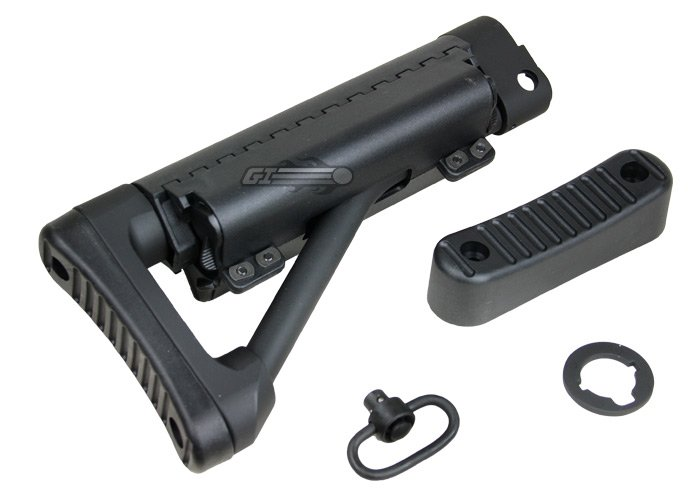 Marine Battery Short Stock ( Black ) by: G&P - Airsoft GI - The G P Crane Stock