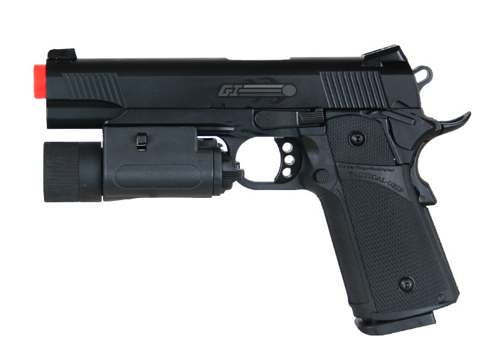 KJW Full Metal M1911 Tactical GBB Airsoft Gun ( Black ) by: KJ Works
