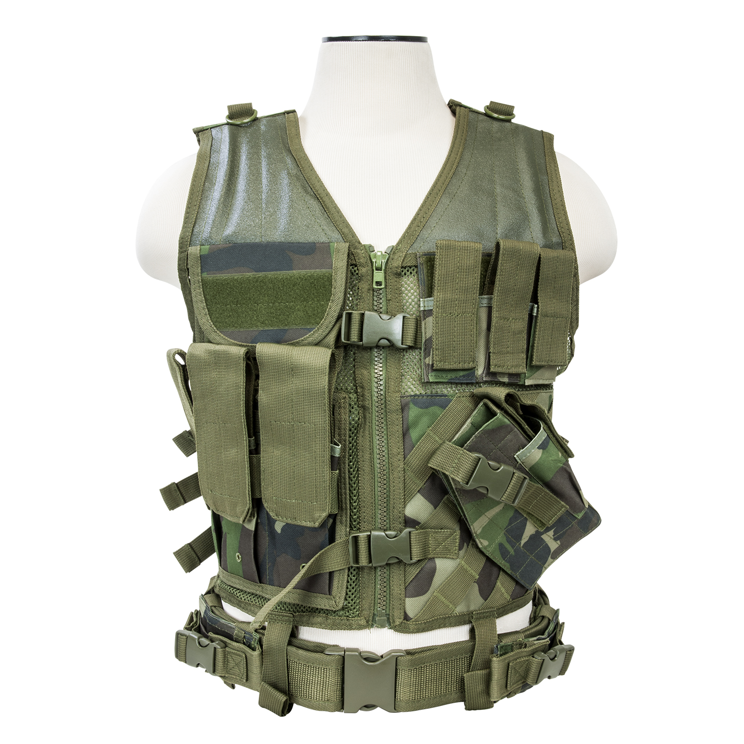VISM Tactical Crossdraw Vest (Woodland/XL - XXL)