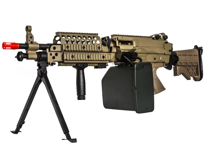 Au0026K Full Metal M249 Desert MK46 SPW AEG Airsoft Gun ( Tan / Box