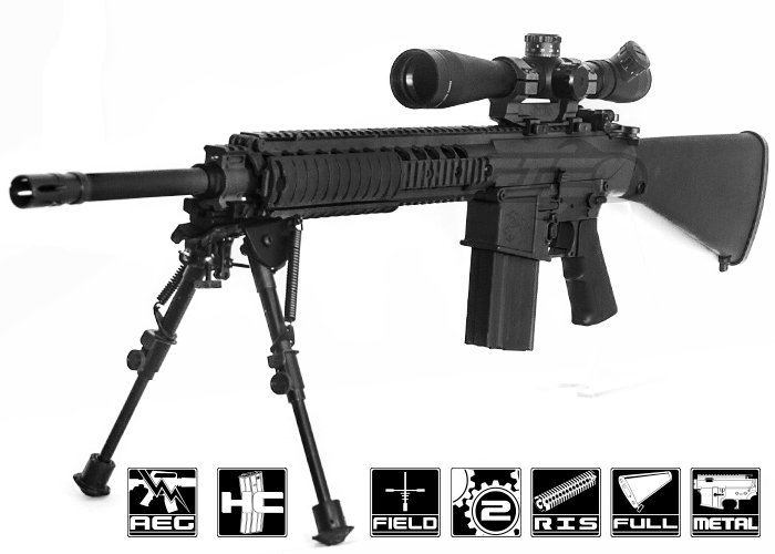 Sr 25 For Sale >> Knight's Armament Full Metal M110 SASS W/ETS AEG Airsoft Gun ( Black ) by ARES