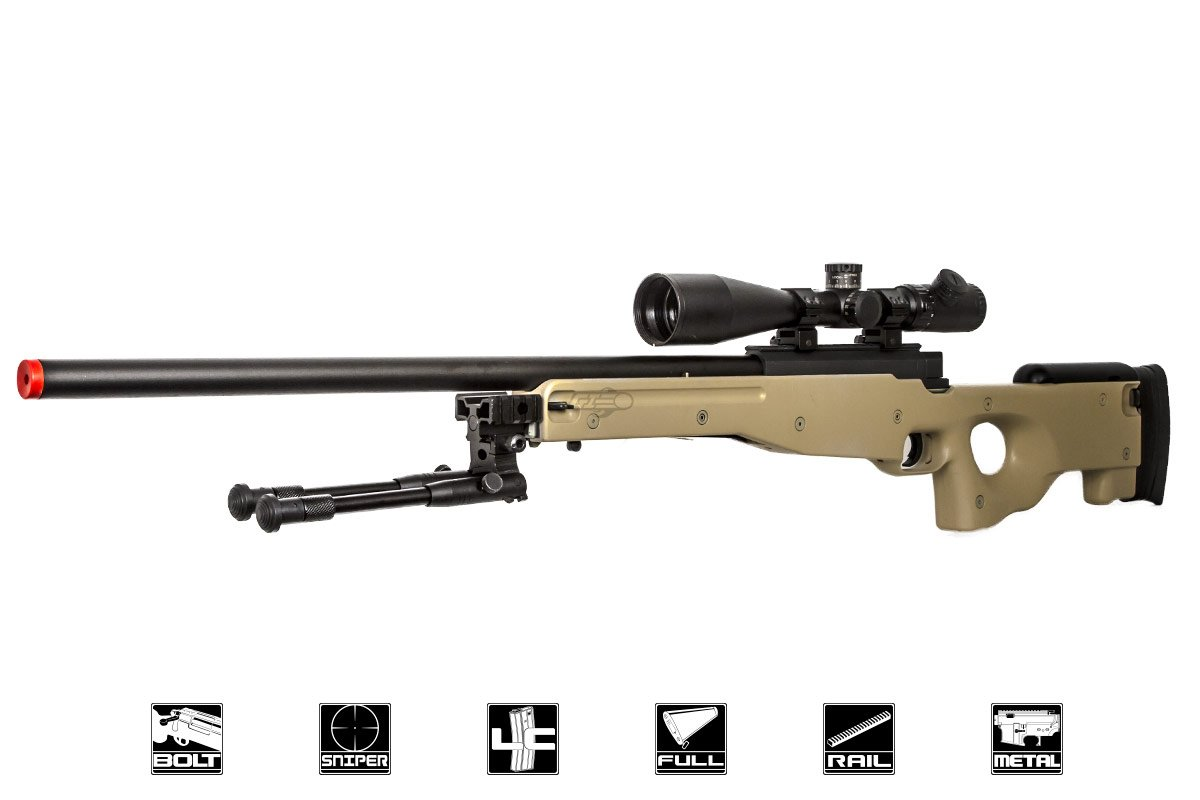 Bravo MK98 Bolt Action Sniper Airsoft Rifle w/ Bipod (Tan)