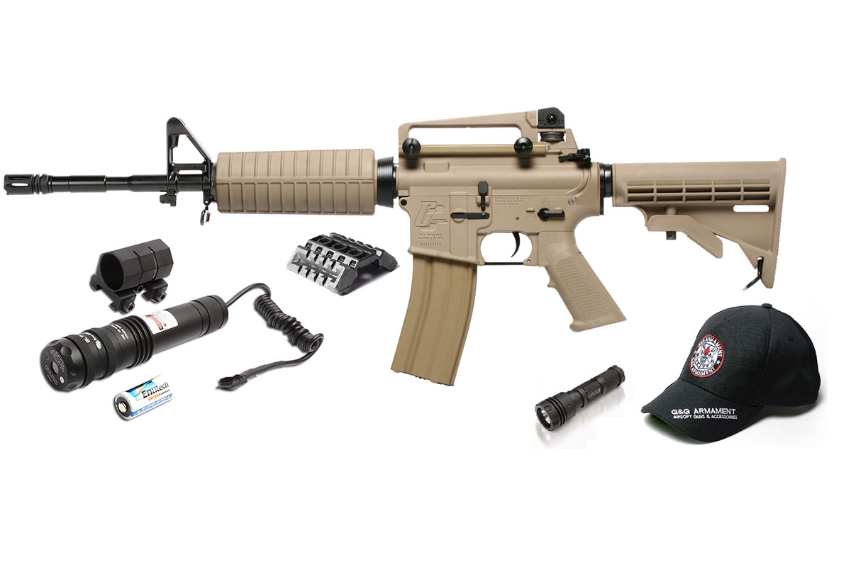 G&G Combat Machine GC16 Carbine DST M4 AEG Airsoft Rifle Holiday Laser  Light & Accessory Package Combo (Tan)