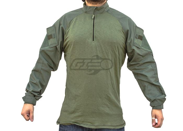 LG//Reg Tru-Spec 2565005 Men/'s OD Green Cotton Blend LS 1//4 Zip Combat Shirt
