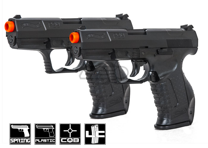 elite force walther p99 spring airsoft pistol duelers kit black