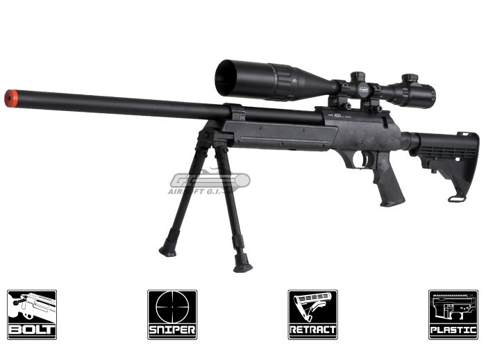Echo 1 ASR Bolt Action Spring Sniper Airsoft Rifle ( Black )
