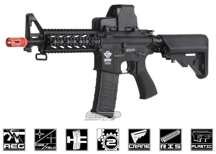 Combat Machine M4 Raider Shorty w/ Polymer RIS AEG Airsoft Gun (BLK/ CQB) (Battery and Charger Package)
