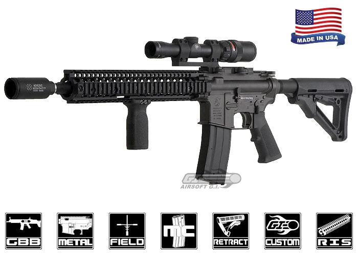 Airsoft GI Daniel Defense M4 RIS II Carbine GBB Airsoft Rifle (Black)