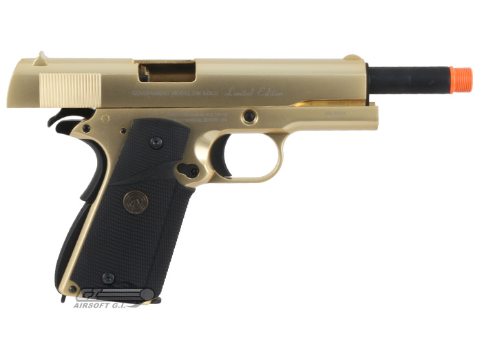 Socom Gear 24k Gold Plated Government Classic M1911 Gbb Airsoft Pistol Limited Edition Gold
