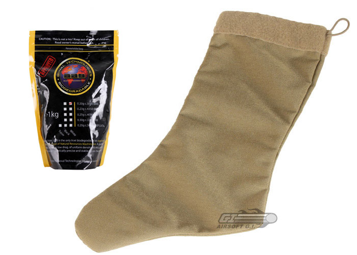 Specter Tactical Christmas Stocking (Coyote) w/ Bioval .20g (Biodegradable) 5000 BBs (White) Package