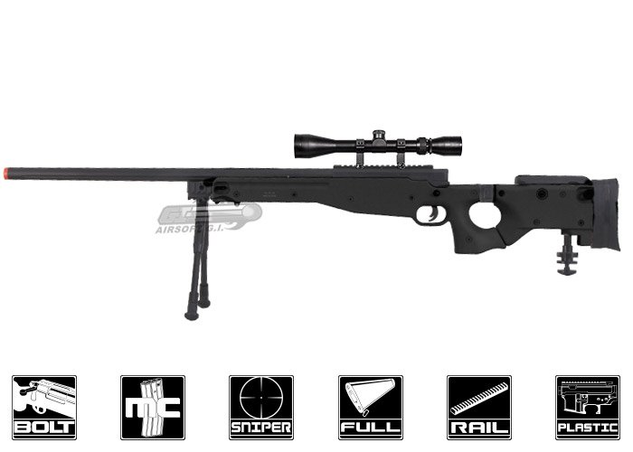 Well Full Metal Mb08 Bolt Action Sniper Airsoft Rifle Black Scope Package Deal