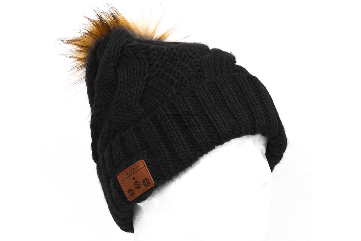 Tenergy Bluetooth Braid Beanie w  Fur Pom Pom ( Black ) 08d9eda70e9