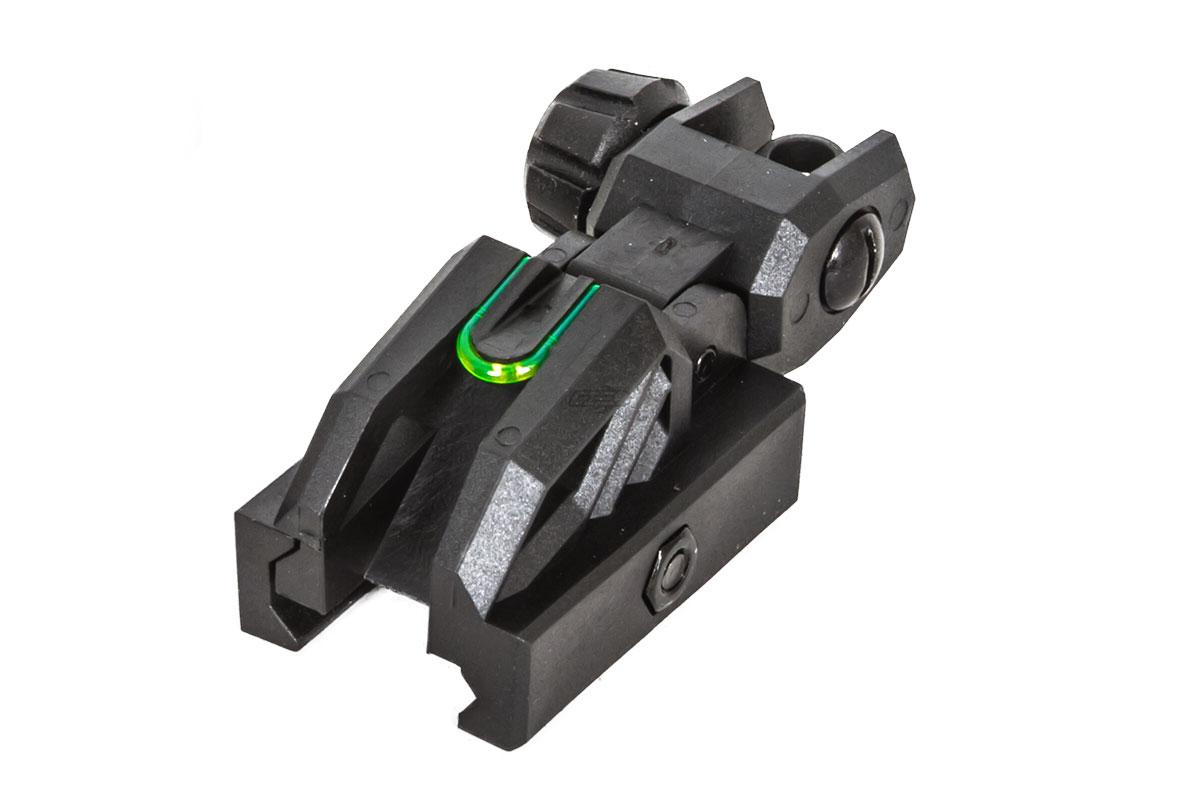 valken folding rear sight black neon
