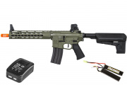 Krytac Trident MK2 CRB Keymod M4 Carbine AEG Airsoft Gun LiPo Battery & Charger Package (Foliage Green)