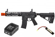 Elite Force Avalon VR16 Saber M4 CQB M-LOK AEG Airsoft Gun by VFC LiPo Battery & Charger Package (Black)