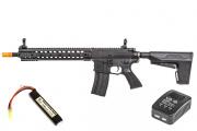 Classic Army M4 ARS3-12 Modular Rail AEG Airsoft Gun w BAS System LiPo Battery & Charger Package (Black)
