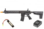 Classic Army M4 Combat Carbine AEG Airsoft Gun w BAS System LiPo Battery & Charger Package (Black)