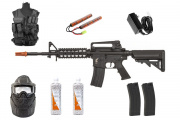Best Airsoft Rifle Starter Package Apex Fast Attack w/ Vest, Face Mask, BBs, Magazines (Black)