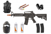 Best Airsoft Rifle Starter Package Apex Fast Attack CQBR w/ Vest, Face Mask, BBs, Magazines (Black)