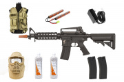 Best Airsoft Rifle Starter Package Apex Fast Attack CQBR w/ Vest, Face Mask, BBs, Magazines (Tan)