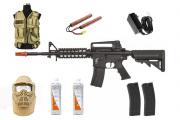 Best Airsoft Rifle Starter Package Apex Fast Attack w/ Vest, Face Mask, BBs, Magazines (Tan)