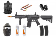 Best Airsoft Rifle Starter Package CA ECS Skirmish EC1 w/ Vest, Face Mask, BBs, Magazines (Black)