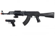 UK Arms P1247 Tactical AK-47 Rifle Spring Airsoft Gun Pistol Package (Black)
