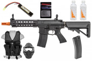 Best Airsoft Starter Package w/ Vest, Face Mask, Full Metal M4 AEG Airsoft Rifle (Black)