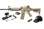 G&G Full Metal GC16 M4 Carbine Desert AEG Airsoft Gun Holiday Laser Light & Accessory Package Combo (Tan)
