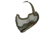 UK Arms Tactical Metal Mesh Half Mask with Ear Protection (Woodland Camo)