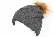 Tenergy  Bluetooth Braid Beanie with Fur Pom Pom (Shark Skin)