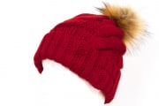 Tenergy Bluetooth Braid Beanie with Fur Pom Pom (Maroon)