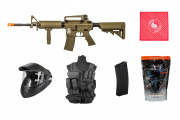 Best Airsoft Rifle Starter Package Lancer Tactical Gen 2 M4 w/ Vest Mask Mag BBs Battery & Charger