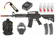 Best Airsoft Gun Starter Package w/ Vest, Face Mask, APEX Fast AEG Airsoft Gun, BBs, Magazines, & Lipo Package (Black)