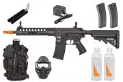 Best Airsoft Rifle Starter Package w/ Vest, Face Mask, CA Skirmish ECS Airsoft Rifle, BBs, & Magazines (Black)