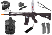 Best Airsoft Rifle Starter Package Lancer Tactical M4 w/ Vest, Face Mask, BBs, Magazines & Sling (Black)