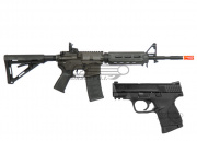 King Arms Full Metal Smith & Wesson M&P 15 AEG Airsoft Gun and S&W M&P9C GBB Pistol Battle Package (2 guns)