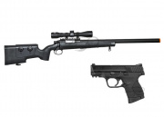FN Herstal SPR A5M Sniper Rifle w/Scope and M&P MP9C GBB Airsoft Gun Battle Package 1 (2 guns/Package 1)